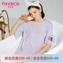 Nightdress Fandecie  M L XL Middle sleeve Middle-skirt summer other youth Crew neck Summer of 2019 Same model in shopping mall (sold online and offline)