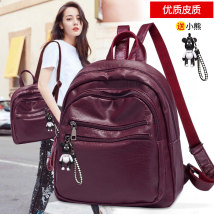 Backpack PU Four seasons honey Black - Single Pack Black - free Doll Red - Single Pack Red - free doll brand new in zipper leisure time Double root no