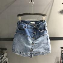 skirt Summer 2021 S,M,L,XL blue Short skirt street A-line skirt Solid color Type A More than 95% Denim Ocnltiy cotton Asymmetry, button Europe and America