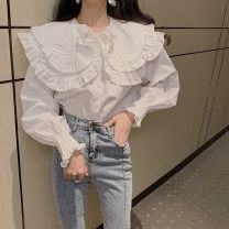 shirt white Average size Spring 2020 other 30% and below Long sleeves commute Regular Doll Collar Single row multi button 18-24 years old Korean version