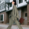 Women's large Spring 2020, autumn 2020 Grey, green, black Large XL, 2XL, 3XL, 4XL, 5XL suit Two piece set commute easy moderate Cardigan Long sleeves Solid color Ol style Polo collar routine polyester Three dimensional cutting routine FN 7338(ZJ 1231-3) Other / other Button trousers