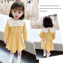 Dress yellow female Weihao Jiaqi 80cm,90cm,100cm,110cm,120cm,130cm Cotton 95% other 5% summer Korean version Long sleeves Dot cotton Pleats Class B 18 months, 2 years, 3 years, 4 years, 5 years