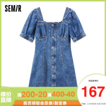 Dress Summer 2021 Denim light blue 0810 155/80A/S,160/84A/M,165/88A/L Short skirt singleton  Short sleeve commute square neck middle-waisted Solid color zipper A-line skirt routine Others 18-24 years old Type A Semir / SEMA Retro Button 10-9321114009 More than 95% other cotton
