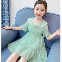 Dress Green, pink, white rainbow skirt female Other / other Other 100% summer leisure time Short sleeve Broken flowers Chiffon Lotus leaf edge Class A Chinese Mainland