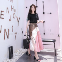 skirt Summer of 2019 S,M,L Half skirt, top longuette commute High waist Pleated skirt other Type A 25-29 years old 10021C10013 10022B11047 15022D13003 71% (inclusive) - 80% (inclusive) Lace yes jing other Lace Retro