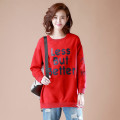 Sweater / sweater Autumn of 2019 Red, black M,L,XL,2XL,3XL Long sleeves Medium length Socket singleton  Plush Crew neck easy commute routine letter 30-34 years old 31% (inclusive) - 50% (inclusive) Mo Mo in September cotton cotton