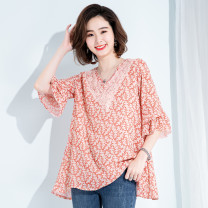Lace / Chiffon Summer 2020 Pink M,L,XL,2XL,3XL,4XL elbow sleeve commute Socket singleton  easy Regular V-neck Lotus leaf sleeve 30-34 years old Mo Mo in September Korean version 51% (inclusive) - 70% (inclusive) polyester fiber