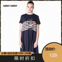 Dress Spring 2017 Tibetan blue and white L M S XS Mid length dress 18-24 years old HARDY HARDY HH17SUBWKRU192 More than 95% cotton Cotton 100%