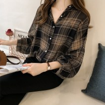 shirt Black, apricot M,L,XL,2XL,3XL,4XL Spring 2021 other 31% (inclusive) - 50% (inclusive) Long sleeves Versatile Regular Polo collar Single row multi button routine lattice Straight cylinder