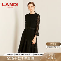 Dress Autumn of 2019 black S M L XL Middle-skirt singleton  Long sleeves commute Crew neck High waist Solid color Socket A-line skirt pagoda sleeve Others 30-34 years old Type X LANDI Ol style Lace up stitched lace belt LSDL447W More than 95% other Other 100%