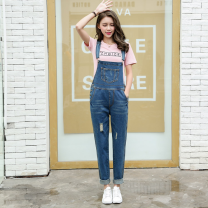 Jeans Autumn of 2019 blue S,M,L trousers High waist rompers routine Make old Cotton denim 81% (inclusive) - 90% (inclusive)