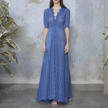 Dress Summer 2021 blue S,M,L longuette singleton  Short sleeve street V-neck middle-waisted Solid color Single breasted Big swing routine Others 25-29 years old Type X Qu wanjiamei Cut out, button, lace 81% (inclusive) - 90% (inclusive) Lace polyester fiber Europe and America