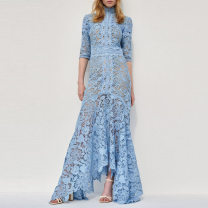 Dress Spring 2021 Blue, white S,M,L longuette singleton  three quarter sleeve street stand collar middle-waisted Solid color zipper Irregular skirt routine Others 25-29 years old Type X Qu wanjiamei 81% (inclusive) - 90% (inclusive) Lace other Europe and America