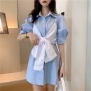 Dress Summer 2020 blue S (recommended 90-100 kg), m (recommended 100-110 kg), l (recommended 110-120 kg), XL (recommended 120-135 kg), 2XL (recommended 135-150 kg), 3XL (recommended 150-165 kg), 4XL (recommended 165-175 kg), 5XL (recommended 172-200 kg) Short skirt Two piece set Short sleeve commute