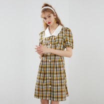 Dress Summer 2020 Yellow check XS S M L Mid length dress singleton  Short sleeve commute Polo collar middle-waisted lattice Single breasted A-line skirt puff sleeve Others 25-29 years old Type X Kbne / Cabernet Korean version yDSK0061LT163 91% (inclusive) - 95% (inclusive) polyester fiber