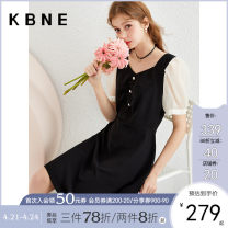 Dress Summer 2021 black XS S M L Mid length dress singleton  Short sleeve Sweet other middle-waisted zipper A-line skirt puff sleeve 25-29 years old Type X Kbne / Cabernet Splicing DSK1042LT116 More than 95% other Other 100% college Pure e-commerce (online only)
