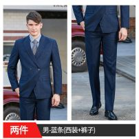 suit Winter of 2019 S,M,L,XL,2XL,3XL,4XL,5XL Long sleeves routine Self cultivation tailored collar double-breasted commute routine stripe 25-29 years old 96% and above other