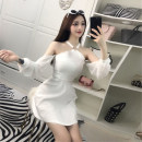 Dress Autumn of 2018 White, black S,M,L Short skirt singleton  Long sleeves commute High waist Solid color zipper A-line skirt Hanging neck style 18-24 years old Type A Other / other Korean version cotton