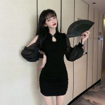 Dress Winter 2020 Pink, black S,M,L,XL Short skirt singleton  Long sleeves commute stand collar High waist Solid color A button Pencil skirt routine Others 18-24 years old Type H Retro Fold, splice 31% (inclusive) - 50% (inclusive) Chiffon cotton
