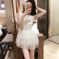 Dress Summer of 2019 white S,M,L Short skirt singleton  Sleeveless commute Crew neck High waist Solid color zipper Princess Dress 18-24 years old Type A Other / other Lace, gauze net, hook flower and hollow out