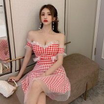 Dress Summer 2020 Red and white check (high quality spot), black and white check (high quality spot) Average size Short skirt singleton  Short sleeve commute V-neck High waist lattice zipper A-line skirt Breast wrapping 18-24 years old Type A Korean version 31% (inclusive) - 50% (inclusive) brocade