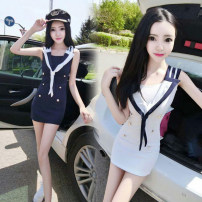 Dress Summer of 2019 Blue, white S,M,L Short skirt singleton  Sleeveless commute Admiral middle-waisted Solid color zipper One pace skirt 18-24 years old Type H Korean version