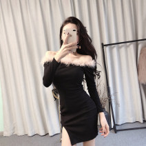 Dress Summer 2020 black S,M,L Short skirt singleton  Long sleeves commute One word collar middle-waisted Solid color Socket One pace skirt routine 18-24 years old Type X Other / other Korean version cotton