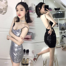 Dress Summer 2020 Silver, black S,M,L Short skirt singleton  Sleeveless commute V-neck middle-waisted Solid color Socket One pace skirt camisole 18-24 years old Type H Korean version Open back, sequins 31% (inclusive) - 50% (inclusive) other