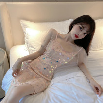 Dress Summer 2020 Picture color S,M,L Short skirt singleton  Short sleeve commute V-neck middle-waisted Solid color zipper One pace skirt Flying sleeve camisole 18-24 years old Type X Korean version Stitching, sequins, mesh 31% (inclusive) - 50% (inclusive) Lace polyester fiber