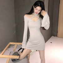 Dress Autumn of 2019 Light grey, pink S,M,L Short skirt singleton  Long sleeves commute V-neck middle-waisted Solid color Socket One pace skirt pagoda sleeve Hanging neck style 18-24 years old Type X Other / other Korean version Hollowing out 988# cotton