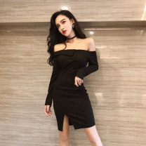 Dress Summer 2020 Black (long sleeve), black (short sleeve) S,M,L,XL Short skirt singleton  Long sleeves commute One word collar High waist Solid color zipper Irregular skirt routine 18-24 years old Type H Other / other Korean version