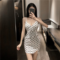 Dress Summer 2020 White, black Average size Short skirt singleton  Sleeveless commute V-neck High waist Dot Socket Pencil skirt other camisole 25-29 years old Type H Korean version Backless, printed 71% (inclusive) - 80% (inclusive) other cotton