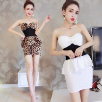 Dress Summer 2020 White, leopard print S, M Miniskirt singleton  Sleeveless commute V-neck High waist Leopard Print Socket One pace skirt Breast wrapping 18-24 years old Type H Other / other Korean version 51% (inclusive) - 70% (inclusive) brocade cotton
