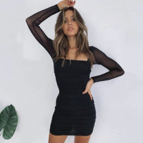 Dress Autumn 2020 black S,M,L,XL Short skirt singleton  Long sleeves street square neck middle-waisted Solid color Socket One pace skirt routine 25-29 years old Pleating, stitching, mesh More than 95% other polyester fiber Europe and America