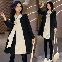 Dress Other / other black M,L,XL,XXL Korean version Long sleeves routine autumn square neck nylon