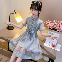 Dress Khaki, grey female Pattibala 110cm,120cm,130cm,140cm,150cm,160cm,170cm Other 100% summer Korean version Short sleeve lattice Netting Princess Dress Class B