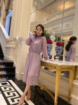 Dress Spring 2021 Black, taro purple 160/84A,165/88A singleton  Long sleeves commute V-neck Solid color Socket routine Button 30% and below other