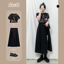 skirt Summer 2020 M,L,XL,3XL,4XL,XXL Black tie dyed T-shirt (stock), black split skirt (stock) Mid length dress Versatile High waist A-line skirt Solid color Type A 18-24 years old 30% and below other other