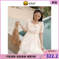 Dress Summer 2021 yellow XS S M L Mid length dress singleton  Short sleeve Sweet square neck High waist Cartoon animation Others 18-24 years old Type H B.Duck Printing of Auricularia auricula 3826STB116-2600 More than 95% polyester fiber Polyester 100% college Pure e-commerce (online only)
