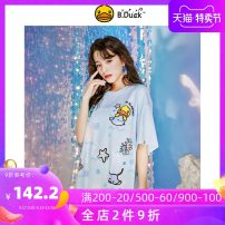 T-shirt wathet XS S M L XL Summer 2021 Short sleeve Crew neck easy Medium length routine Sweet polyester fiber 96% and above 18-24 years old youth Cartoon animation B.Duck printing Polyester 96% polyurethane elastic fiber (spandex) 4% Pure e-commerce (online only) college