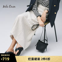 skirt Spring 2021 01 Mid length dress High waist A-line skirt Solid color 25-29 years old More than 95% mila owen hemp Flax 100% Same model in shopping mall (sold online and offline)
