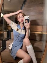 Dress Summer 2021 Blue, black Average size Short skirt singleton  Short sleeve commute Polo collar High waist Socket One pace skirt routine Others 18-24 years old Type A Other / other Korean version Lace 31% (inclusive) - 50% (inclusive) other cotton
