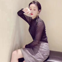 T-shirt Black, red Two, three, four, five Spring 2021 Long sleeves Half high collar Self cultivation Regular routine commute nylon 86% (inclusive) -95% (inclusive) Simplicity other Pinge Dixin