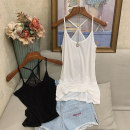 Vest sling Summer 2020 White, black Average size singleton  routine Self cultivation commute camisole Solid color Hollowing out