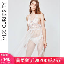 Nightdress Curiosity White, black, blue 155(S) 160(M) 165(L) sexy camisole pajamas longuette spring Solid color youth V-neck Hollowing out MC01SQ07 Spring of 2019 Polyamide fiber (nylon) 100%