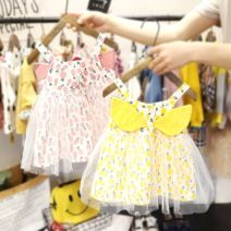 Dress yellow , Pink , Colorful wave point suspender skirt female Other / other 80, 90, 100, 110, 120, 130 Other 100% summer fresh Skirt / vest other cotton Pleats FHW702 12 months, 9 months, 18 months, 2 years old, 3 years old, 4 years old, 5 years old, 6 years old