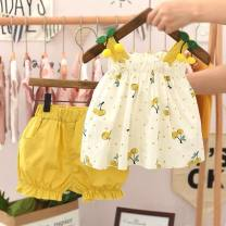 suit Other / other Yellow, red, black, apricot, green, purple, light green, strawberry pink, strawberry white, purple strawberry, red lattice, yellow lattice, pink lattice, black and white lattice, pink, red cherry, yellow lemon, green grapefruit female summer princess Sleeveless + pants 2 pieces