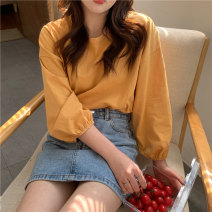 T-shirt White, yellow, lotus root powder, light blue, bean green, orange One size fits all, XXS pre-sale Spring 2021 Long sleeves Crew neck easy Regular routine commute other 31% (inclusive) - 50% (inclusive) Korean version youth Solid color