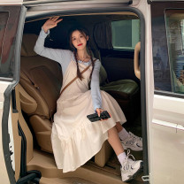Dress Spring 2021 White dress G , Black dress G , T-shirt white D , T-Shirt Blue D Average size Mid length dress singleton  Sleeveless commute One word collar High waist Solid color A-line skirt Others 18-24 years old Type A Korean version cotton