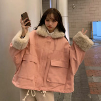 Cotton padded clothes Black, pink Winter 2020 Other / other routine Long sleeves thickening commute Polo collar Bat sleeve Straight cylinder Solid color Korean version pocket 18-24 years old